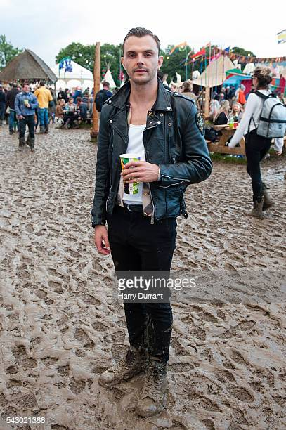 Theo Hutchcraft from Hurts attends the Glastonbury Festival 2016 at Worthy Farm Pilton on June 25 2016 in Glastonbury England