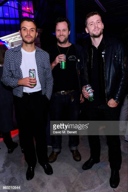 Theo Hutchcraft George Barnett and Arthur De Borman attend the Palace Skate PALASONIC X Ciroc Vodka on October 19 2017 in London England