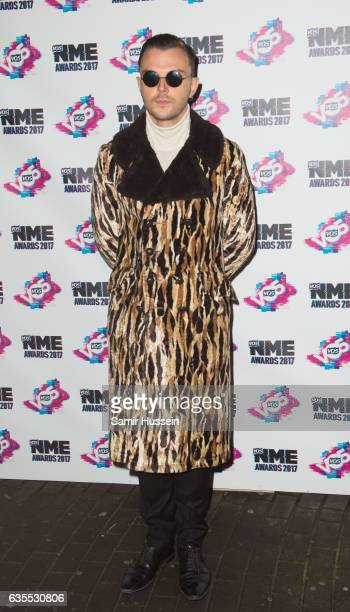 Theo Hutchcraft of Hurts arrives at the VO5 NME awards 2017 on February 15 2017 in London United Kingdom