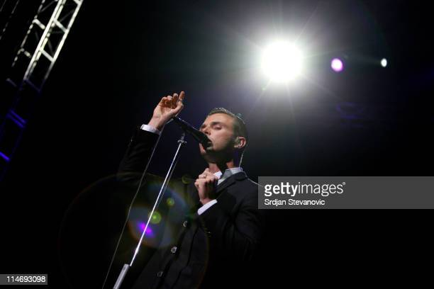 Theo Hutchcraft of Hurts perform at Belgrade Arena on May 25 2011 in Belgrade Serbia