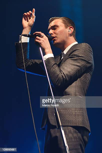 Theo Hutchcraft of Hurts performs on stage at Alter Schlachthof on March 11 2011 in Dresden Germany