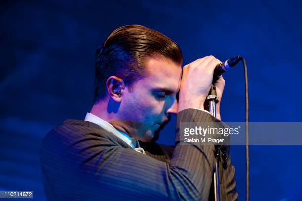 Theo Hutchcraft of Hurts performs on stage at Tonhalle on March 16 2011 in Munich Germany
