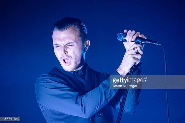 Theo Hutchcraft of Hurts performs on stage at Zenith on November 11 2013 in Munich Germany