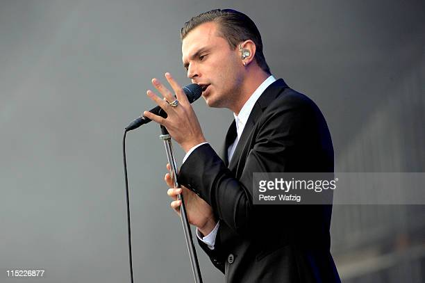 Theo Hutchcraft of Hurts performs on stage during the second day of Rock Am Ring on June 04 2011 in Nuerburg Germany