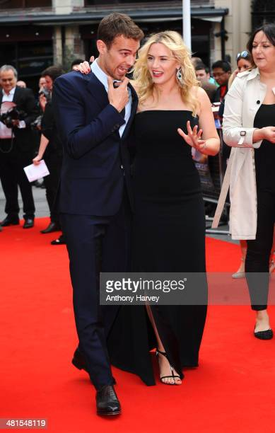Theo James and Kate Winslet attend the European premiere of 'Divergent' at Odeon Leicester Square on March 30 2014 in London England