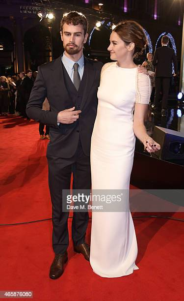 Theo James and Shailene Woodley attend the World Premiere of Insurgent at Odeon Leicester Square on March 11 2015 in London England