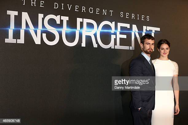 Theo James and Shailene Woodley attends the World Premiere of 'Insurgent' at Odeon Leicester Square on March 11 2015 in London England
