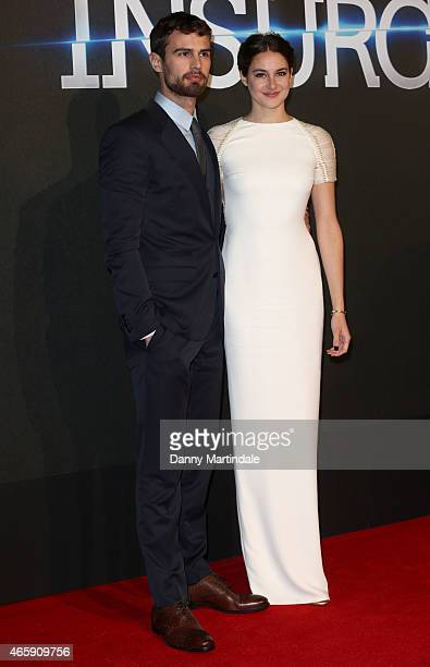 Theo James and Shailene Woodley attends the World Premiere of Insurgent at Odeon Leicester Square on March 11 2015 in London England