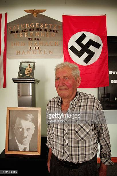 Theo Junker who served in Germany's Waffen SS during World War II stands inside the memorial he built on his farm to honor Adolf Hitler and the men...