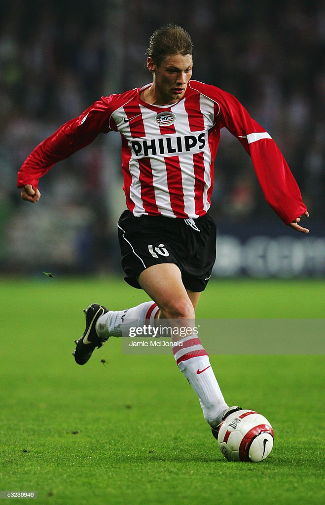 Theo Lucius of PSV Eindhoven in action during the UEFA Champions League semi-final, second leg match between PSV Eindhoven and AC Milan at the Phillips Stadium on May 4, 2005 in Eindhoven, Holland.