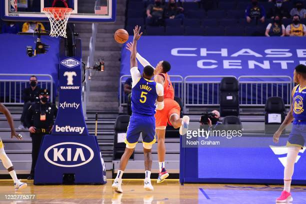 Theo Maledon of the Oklahoma City Thunder drives to the basket against the Golden State Warriors on April 8, 2021 at Chase Center in San Francisco,...