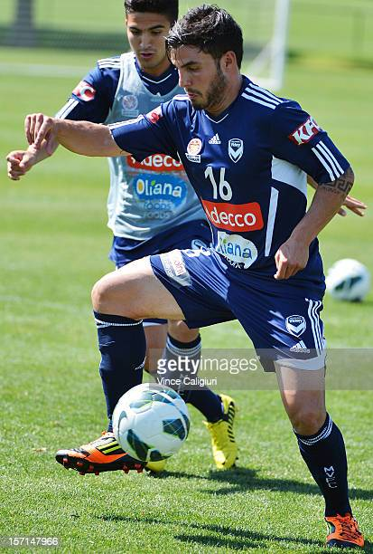 Theo Markelis controls the ball during a Melbourne Victory ALeague training session at Gosch's Paddock on November 29 2012 in Melbourne Australia