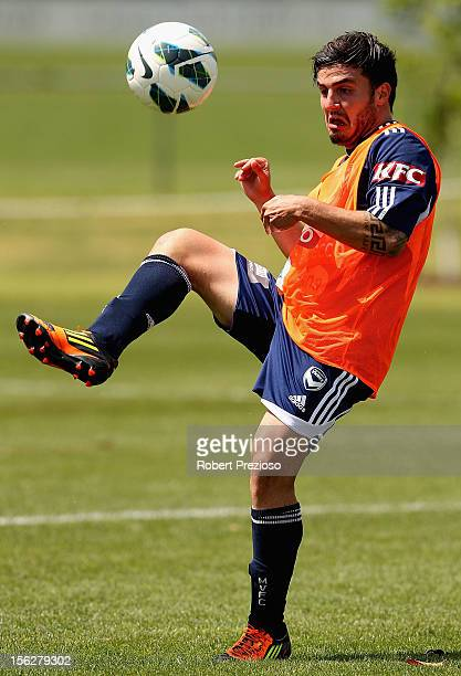 Theo Markelis kicks the ball during a Melbourne Victory ALeague training session at Gosch's Paddock on November 13 2012 in Melbourne Australia