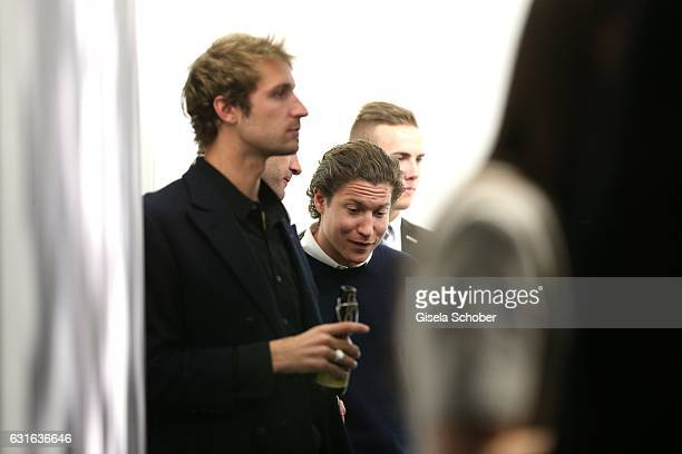 Theo Niarchos and his brother Stavros Niarchos III and Vito Schnabel during the 'Jeff Elrod Figment' exhibition at Vito Schnabel Gallery on December...