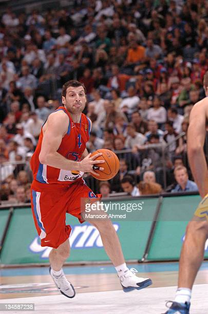 Theo Papaloukas of CSKA Moscow drives the lane during the NBA Europe Live Tour presented by EA Sports on October 10 2006 at the Koeln Arena in...