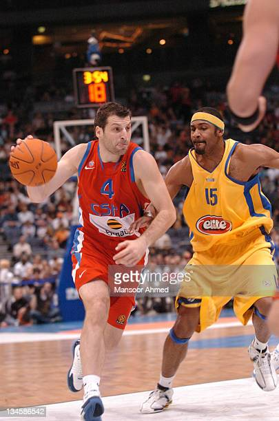 Theo Papaloukas of CSKA Moscow gets by Rodney Bufford of Macabbi Tel Aviv during the NBA Europe Live Tour presented by EA Sports on October 10 2006...
