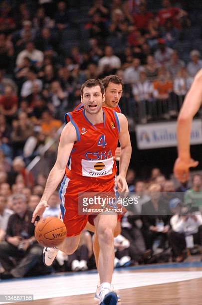 Theo Papaloukas on the drive for CSKA Moscow during the NBA Europe Live Tour presented by EA Sports on October 10 2006 at the Koeln Arena in Cologne...
