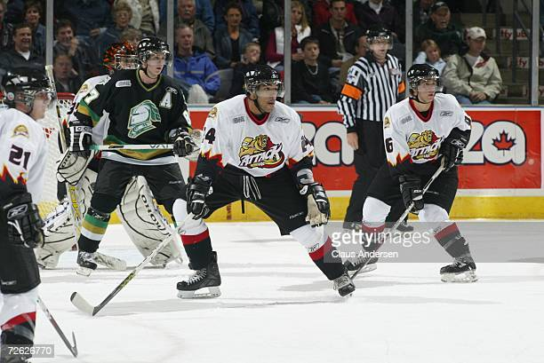 Theo Peckham of the Owen Sound Attack defends against London Knights power play at the John Labatt Centre on September 29, 2006 in London, Ontario,...