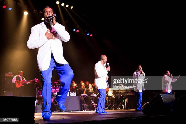 Theo Peoples Lawrence Roquel Payton Jr Ronnie McNeir and Abdul Duke Fakir of The Four Tops perform at the O2 Arena on March 26 2010 in London England