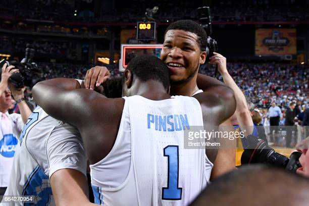 Theo Pinson and Kennedy Meeks of the North Carolina Tar Heels embrace after time expires during the 2017 NCAA Photos via Getty Images Men's Final...