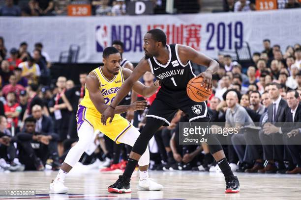 Theo Pinson of the Brooklyn Nets in action during the match against Demetrius Jackson of the Los Angeles Lakers during a preseason game as part of...