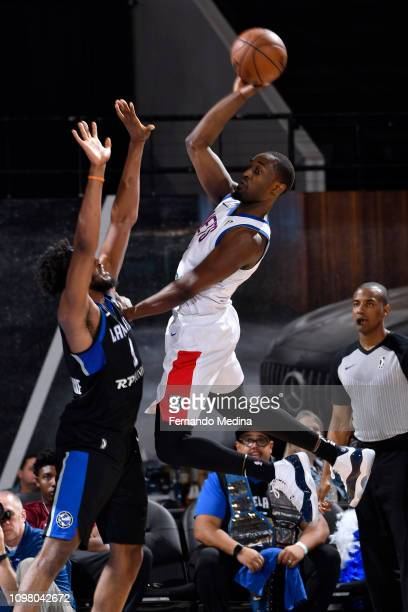 Theo Pinson of the Long Island Nets shoots against Reggis Onwukamuche of the Lakeland Magic during the game on February 11 2019 at RP Funding Center...