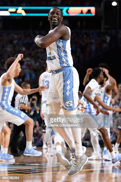 Theo Pinson of the North Carolina Tar Heels and teammates celebrate after time expires during the 2017 NCAA Photos via Getty Images Men's Final Four...