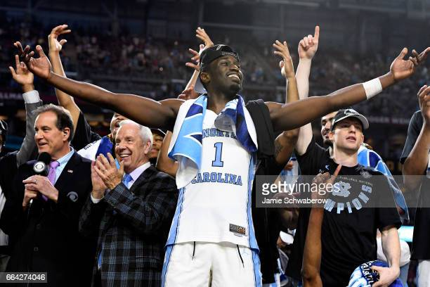 Theo Pinson of the North Carolina Tar Heels celebrates after the 2017 NCAA Photos via Getty Images Men's Final Four National Championship game...