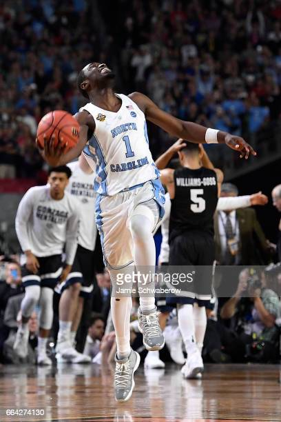 Theo Pinson of the North Carolina Tar Heels celebrates as time expires during the 2017 NCAA Photos via Getty Images Men's Final Four National...