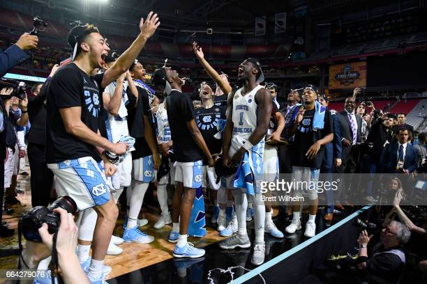 Theo Pinson of the North Carolina Tar Heels celebrates with teammates folowing the 2017 NCAA Photos via Getty Images Men's Final Four National...