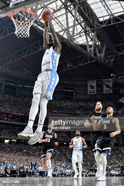 Theo Pinson of the North Carolina Tar Heels dunks during the 2017 NCAA Photos via Getty Images Men's Final Four National Championship game against...