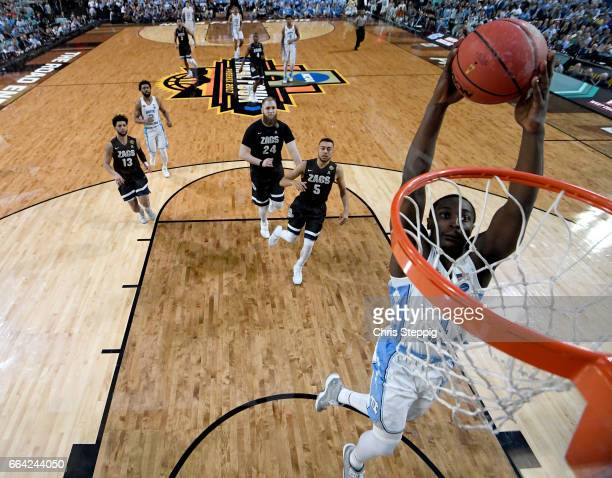 Theo Pinson of the North Carolina Tar Heels dunks the ball during the 2017 NCAA Men's Final Four National Championship game against the Gonzaga...