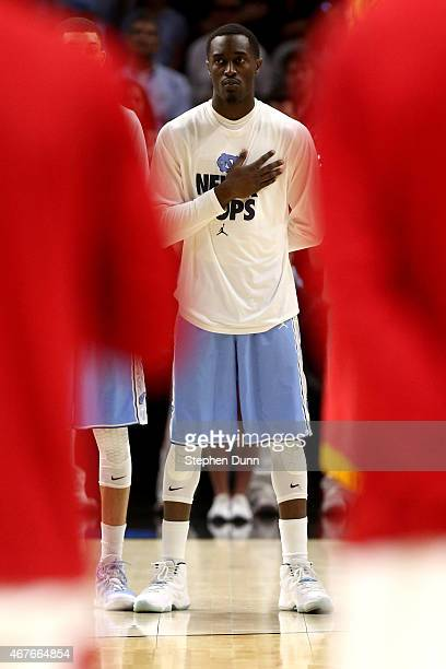 Theo Pinson of the North Carolina Tar Heels is seen before the West Regional Semifinal of the 2015 NCAA Men's Basketball Tournament at Staples Center...