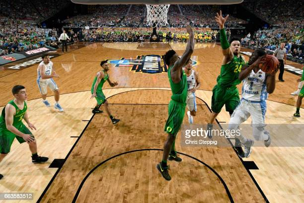 Theo Pinson of the North Carolina Tar Heels looks for a shot during the 2017 NCAA Photos via Getty Images Men's Final Four Semifinal against the...