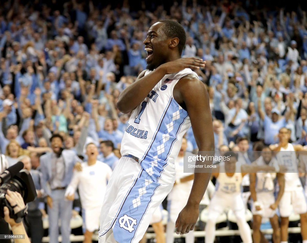 Theo Pinson #1 of the North Carolina Tar Heels reacts after a dunk against the Duke Blue Devils during their game at Dean Smith Center on February 8, 2018 in Chapel Hill, North Carolina.