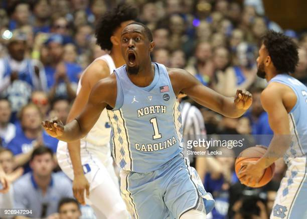 Theo Pinson of the North Carolina Tar Heels reacts after a play against the Duke Blue Devils during their game at Cameron Indoor Stadium on March 3...