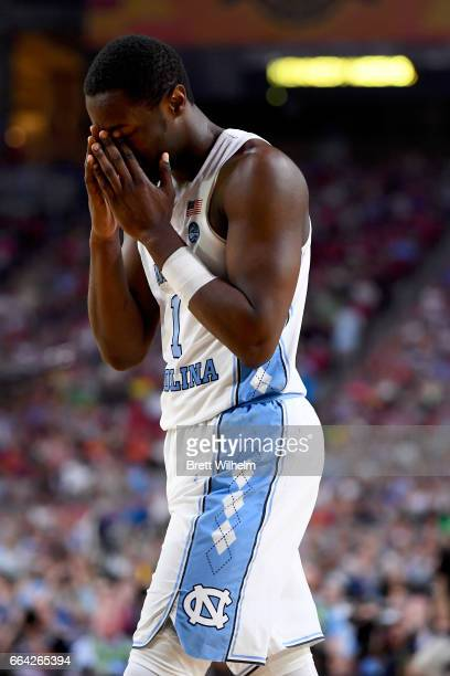Theo Pinson of the North Carolina Tar Heels reacts after to gameplay during the 2017 NCAA Photos via Getty Images Men's Final Four National...