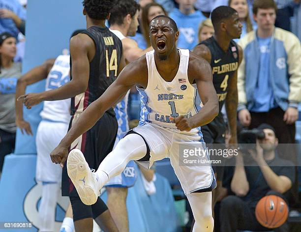 Theo Pinson of the North Carolina Tar Heels reacts during the game against the Florida State Seminoles at the Dean Smith Center on January 14 2017 in...