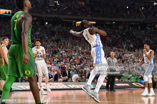 Theo Pinson of the North Carolina Tar Heels reacts to the win during the 2017 NCAA Photos via Getty Images Men's Final Four Semifinal against the...