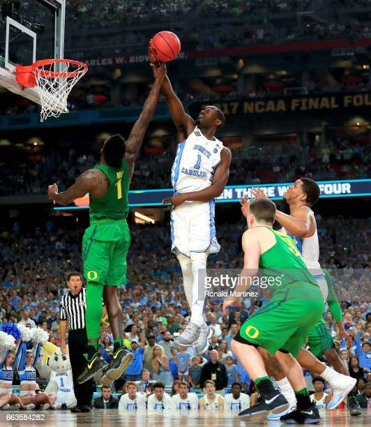Theo Pinson of the North Carolina Tar Heels shoots against Jordan Bell of the Oregon Ducks in the second half during the 2017 NCAA Men's Final Four...