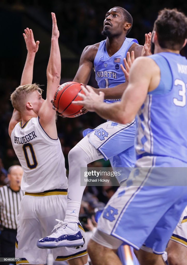 Theo Pinson #1 of the North Carolina Tar Heels shoots the ball against Rex Pflueger #0 of the Notre Dame Fighting Irish at Purcell Pavilion on January 13, 2018 in South Bend, Indiana.