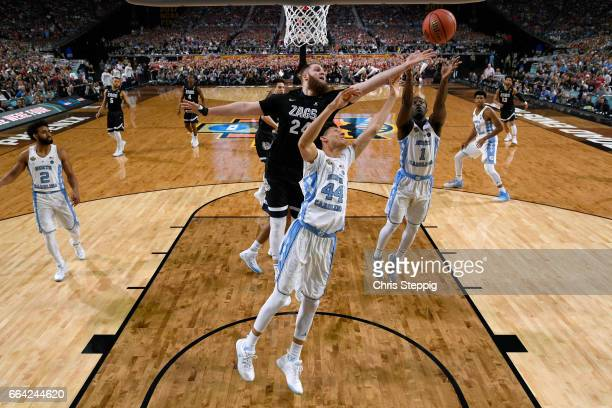 Theo Pinson of the North Carolina Tar Heels shoots the ball over Przemek Karnowski of the Gonzaga Bulldogs during the 2017 NCAA Men's Final Four...