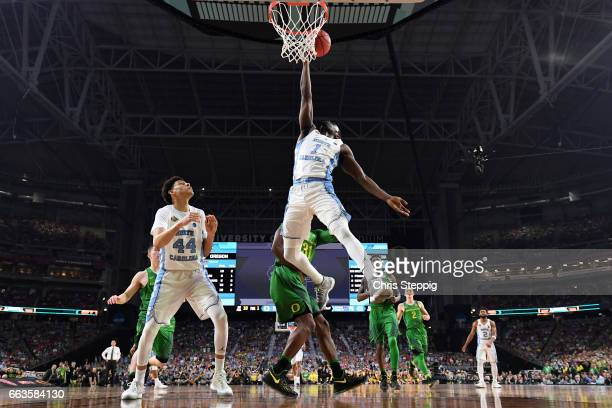 Theo Pinson of the North Carolina Tar Heels takes a shot during the 2017 NCAA Photos via Getty Images Men's Final Four Semifinal against the Oregon...