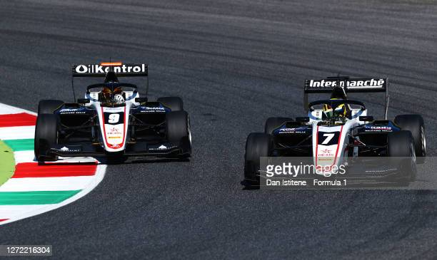 Theo Pourchaire of France and ART Grand Prix and Sebastian Fernandez of Spain and ART Grand Prix battle for position during the Formula 3...