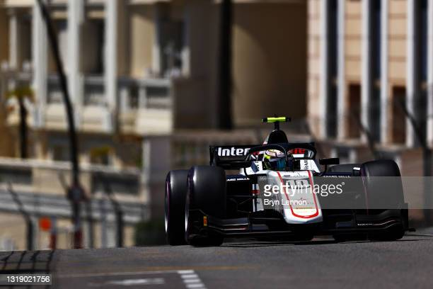 Theo Pourchaire of France and ART Grand Prix drives during qualifying for Round 2:Monte Carlo of the Formula 2 Championship at Circuit de Monaco on...