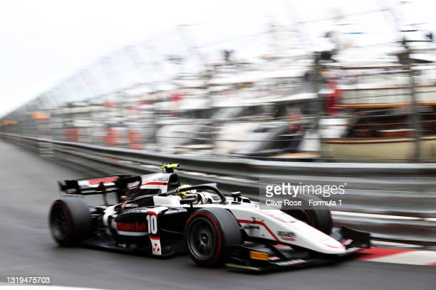 Theo Pourchaire of France and ART Grand Prix drives during the Feature Race of Round 2:Monte Carlo of the Formula 2 Championship at Circuit de Monaco...