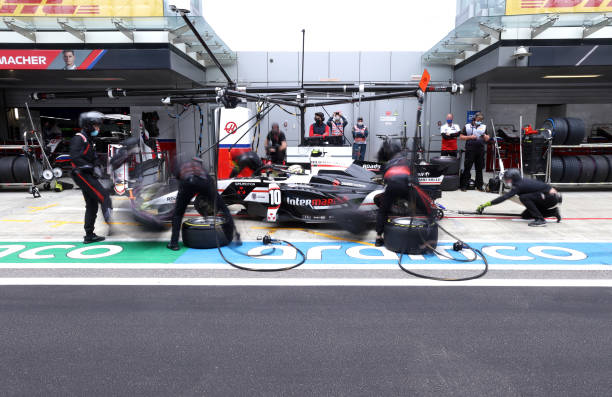 Theo Pourchaire of France and ART Grand Prix makes a pitstop during the feature race of Round 6:Sochi of the Formula 2 Championship at Sochi Autodrom...