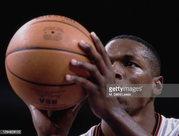 Theo Ratliff, Center and Power Forward for the Philadelphia 76ers prepares to make a free throw during the NBA Atlantic Division basketball game...