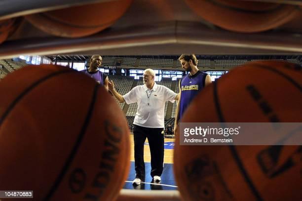 Theo Ratliff, Head Coach Phil Jackson and Pau Gasol of the Los Angeles Lakers during practice at Palau Sant Jordi Barcelona stadium on October 6,...