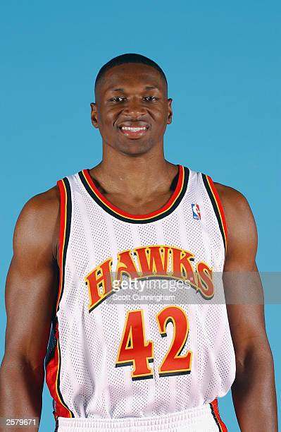 Theo Ratliff of the Atlanta Hawks poses for a portrait during NBA Media Day at Philips Arena on October 2 2003 in Atlanta Georgia NOTE TO USER User...